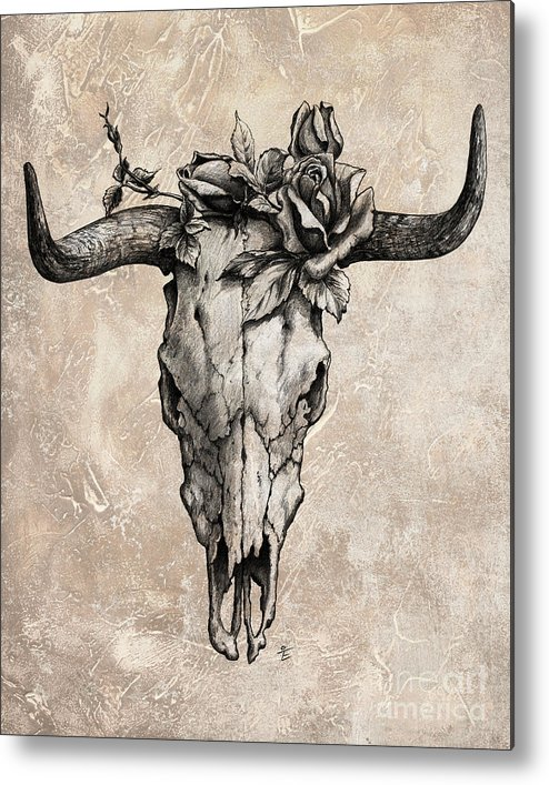 Bull Skull Metal Print featuring the drawing Bull Skull And Rose by Emerico Imre Toth