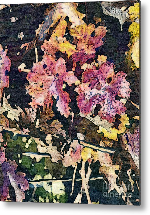 Corde Valle San Martin Ca Metal Print featuring the painting California Vineyard Series Fall Grape Leaves by Artist and Photographer Laura Wrede