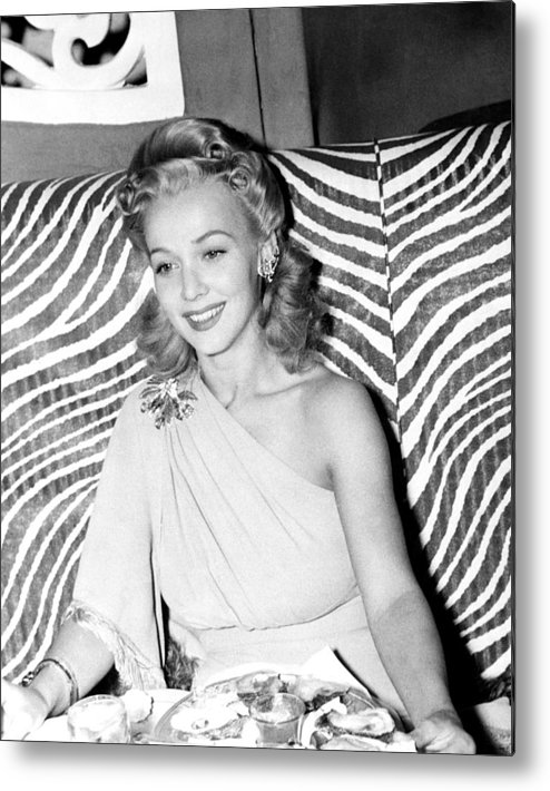 1940s Candid Metal Print featuring the photograph Carole Landis, At El Morocco, Ca. Early by Everett