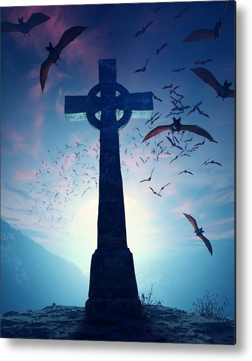 Cross Metal Print featuring the photograph Celtic Cross With Swarm Of Bats by Johan Swanepoel