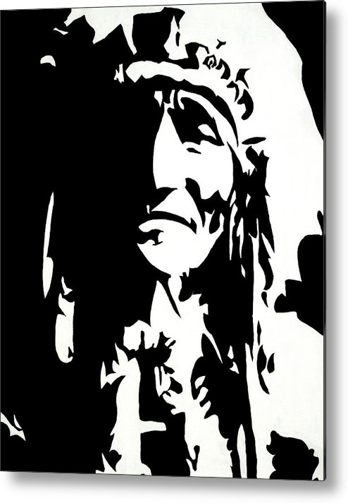 Black And White Metal Print featuring the painting Chief Half In Darkness by HJHunt