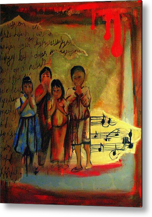 Metal Print featuring the painting Children by Seyda Kinaci
