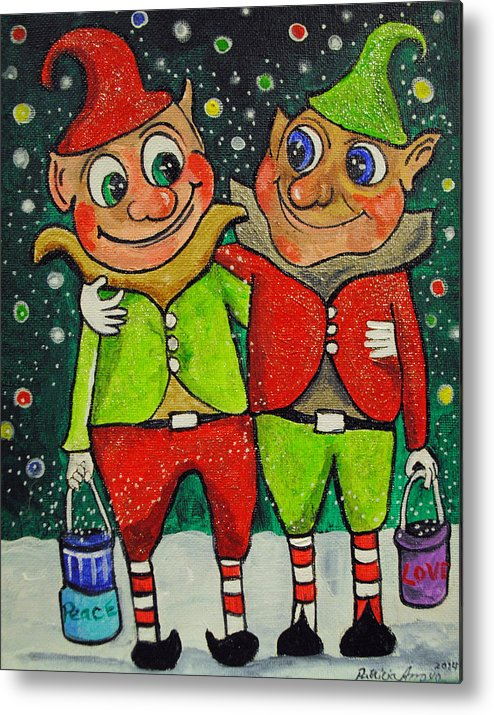 Christmas Metal Print featuring the painting Christmas Elves by Patricia Arroyo