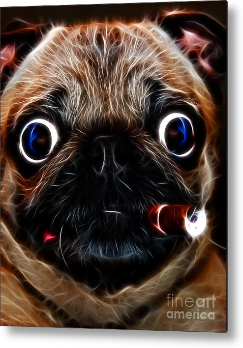 Animal Metal Print featuring the photograph Cigar Puffing Pug - Electric Art by Wingsdomain Art and Photography