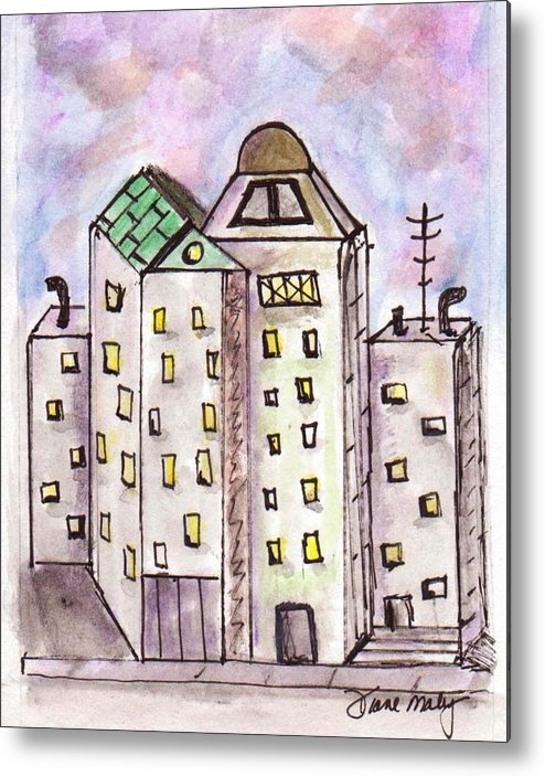 Cityscape Metal Print featuring the mixed media Cityscape 1 by Diane Maley