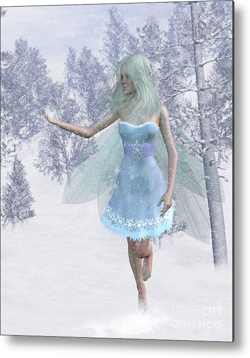 Fairy Metal Print featuring the digital art Cold Winter Fairy by Fairy Fantasies