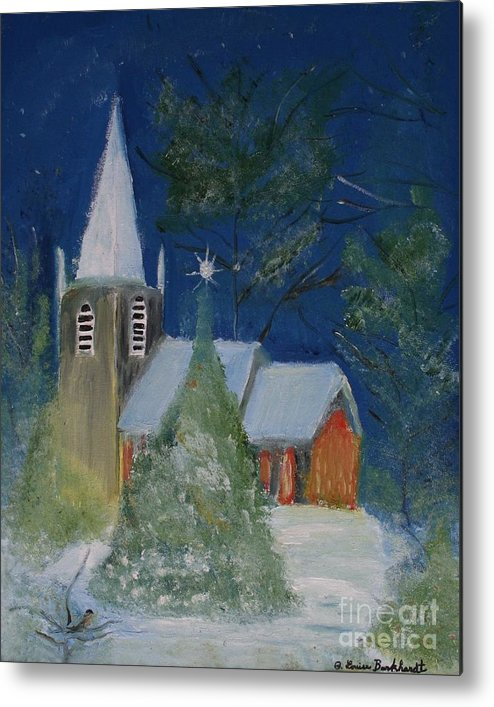 Christmas Holiday Scenery Metal Print featuring the painting Crisp Holiday Night by Louise Burkhardt