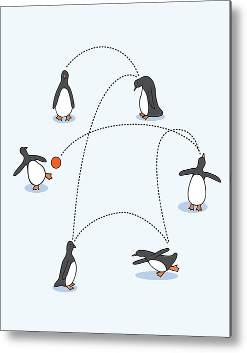 Penguin Metal Print featuring the digital art Cute Penguin Art by Christy Beckwith