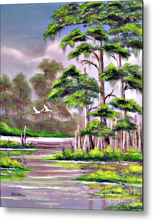 Cypress Metal Print featuring the painting Cypress Trees-wakulla River Florida by Bill Holkham