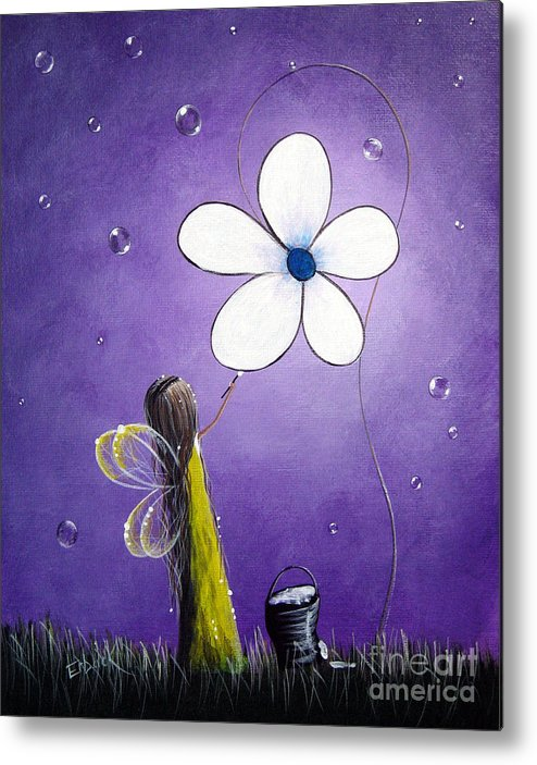 Fairy Metal Print featuring the painting Daisy Fairy By Shawna Erback by Shawna Erback