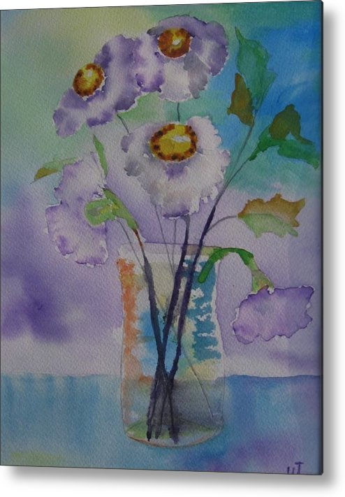 Floral Watercolor Metal Print featuring the painting Daisy by Warren Thompson