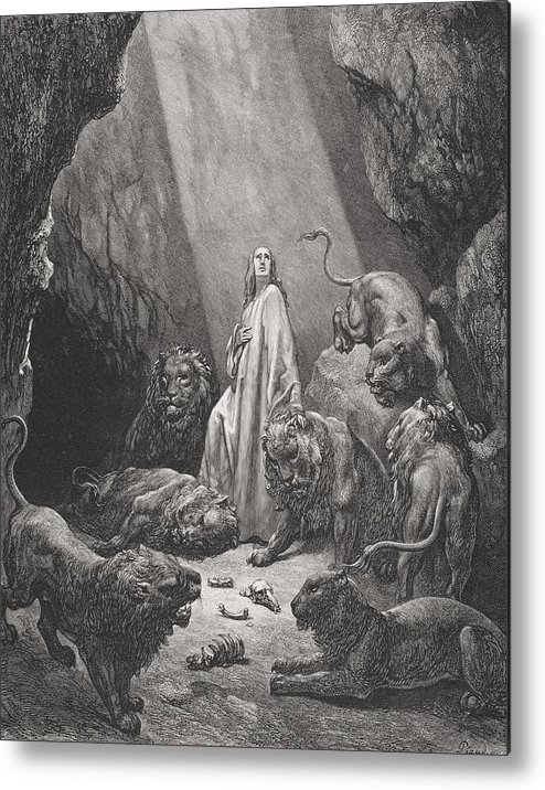 Lion Metal Print featuring the painting Daniel In The Den Of Lions by Gustave Dore