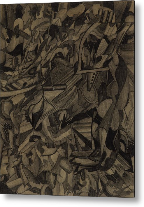 Drawing Metal Print featuring the drawing Deliberation by Peter Shor