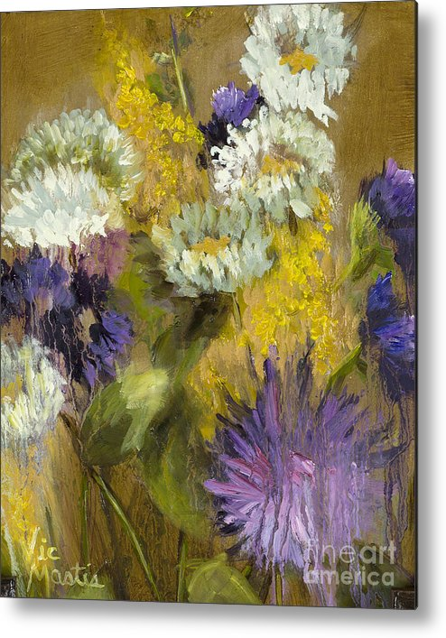 Flower Metal Print featuring the painting Delicate Aroma I -unframed-with Gold Leaf By Vic Mastis by Vic Mastis