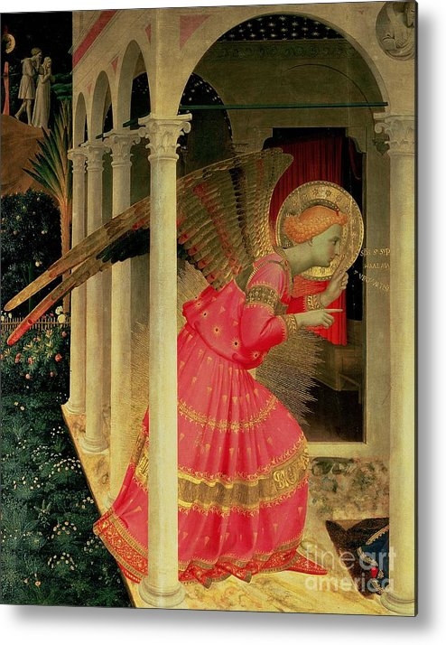 Arcade Metal Print featuring the painting Detail From The Annunciation Showing The Angel Gabriel by Fra Angelico