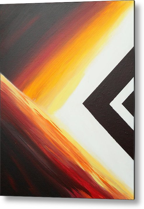 Abstract Metal Print featuring the painting Diamond Fire 1 by Debbie Levene