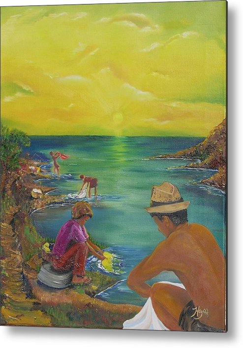 River Metal Print featuring the painting Down By The River by Barbara Hayes