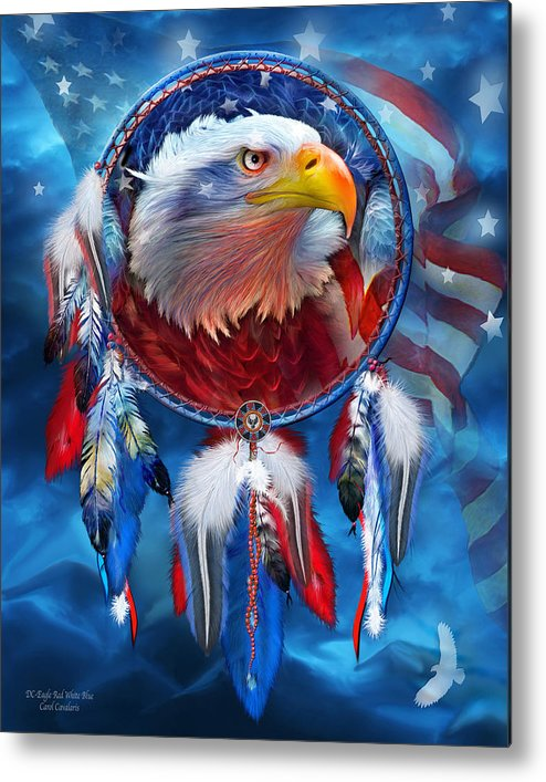 Carol Cavalaris Metal Print featuring the mixed media Dream Catcher - Eagle Red White Blue by Carol Cavalaris