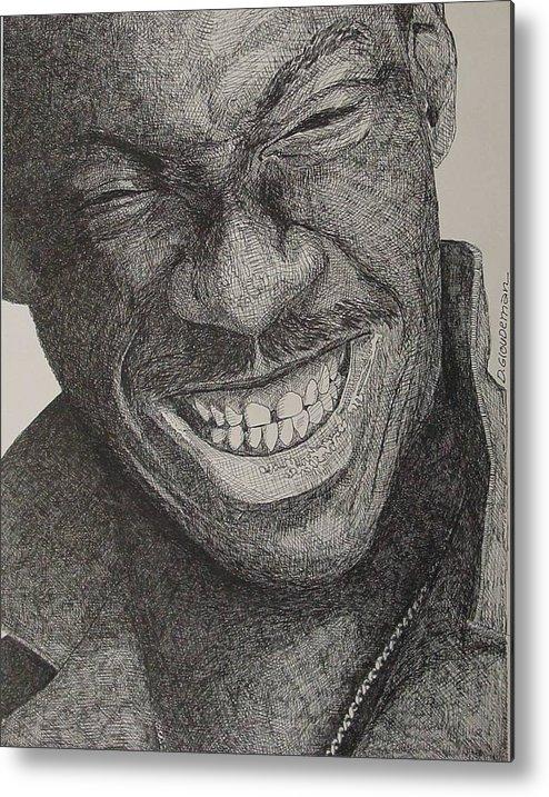 Portraiture Metal Print featuring the drawing Eddie by Denis Gloudeman