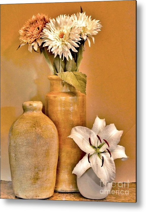 Photo Metal Print featuring the photograph Fall Floral Bouquets by Marsha Heiken