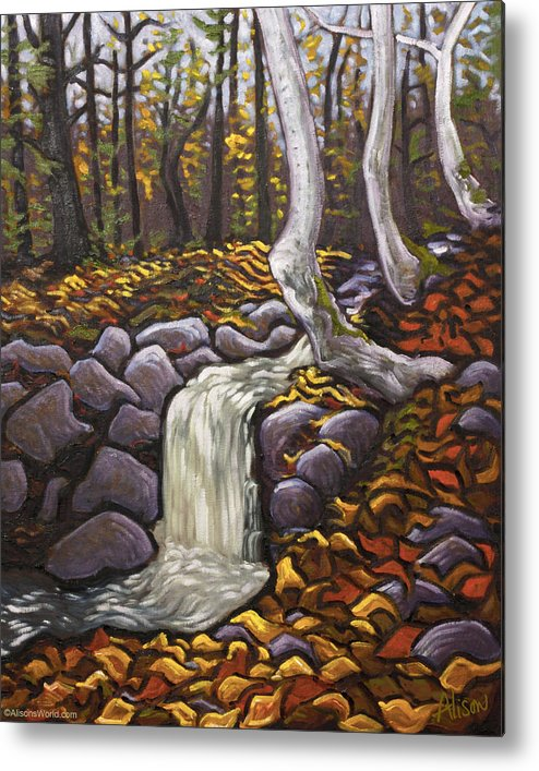 Fall Metal Print featuring the painting Fall Leaving by Alison Barrett Kent