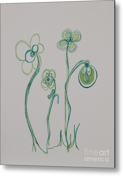 Flowers Metal Print featuring the drawing Families 19 by Christina Naman