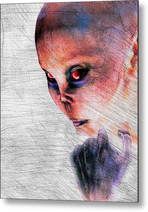 Alien Abduction Metal Print featuring the digital art Female Alien Portrait by Bob Orsillo