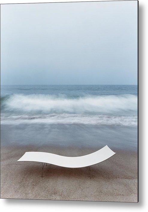 Nobody Metal Print featuring the photograph Flexy Batyline Mesh Curve Chaise On Malibu Beach by Simon Watson