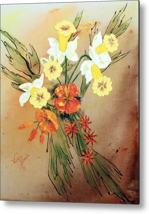 Flowers Metal Print featuring the painting Flowers by Vickie Black