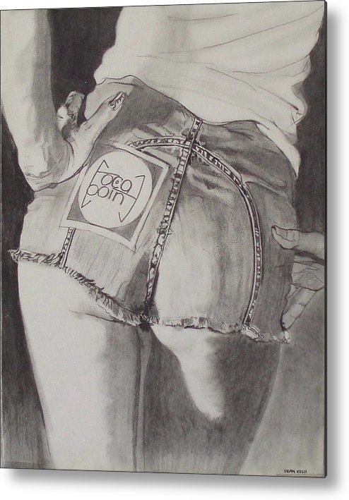 1970s;denim;dungarees;frayed;fringe;seams;cutoffs;hotpants;derierre;female;woman;t Shirt;pinup;fingers;shadow Metal Print featuring the drawing Focal Point . . Or . . The Will To Live by Sean Connolly