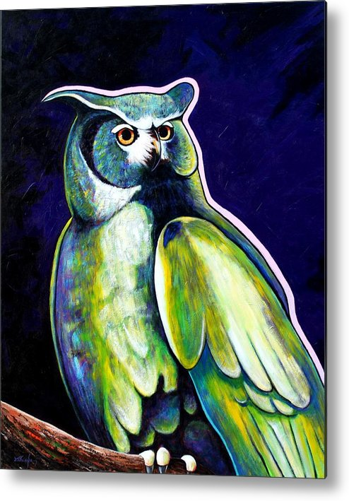 Owl Metal Print featuring the painting From The Shadows by Joe Triano