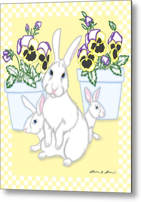 Bunny Metal Print featuring the digital art Garden Bunnies by Alison Stein