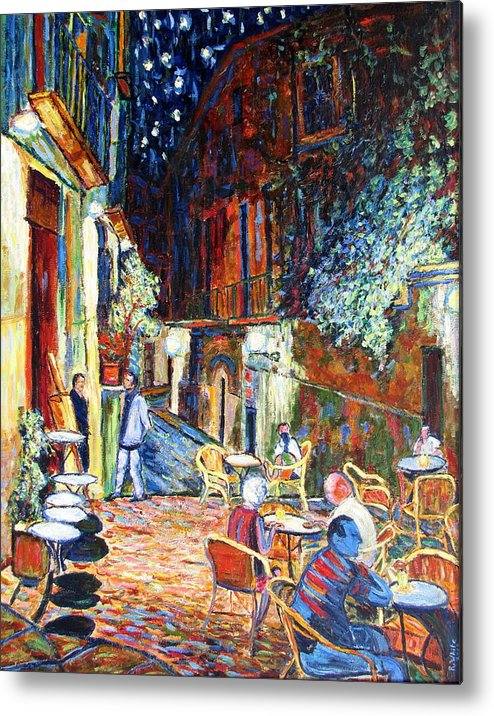Impressionsist Spain Cafe Night Stars Van Gogh Metal Print featuring the painting Gerona by Rob White