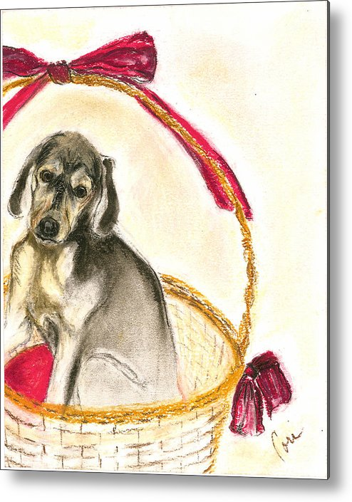 Dog Metal Print featuring the drawing Gift Basket by Cori Solomon