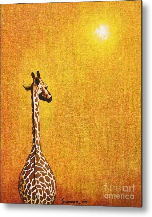 Giraffe Metal Print featuring the painting Giraffe Looking Back by Jerome Stumphauzer