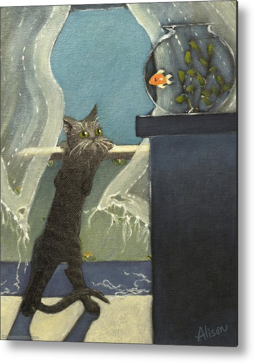 Cat Metal Print featuring the painting Going For The Gold Close Crop by Alison Barrett Kent