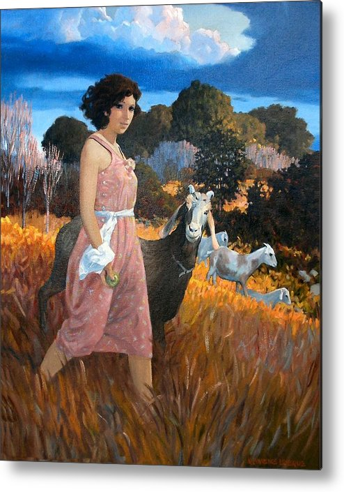 Woman Metal Print featuring the painting Green Apple by Kevin Lawrence Leveque