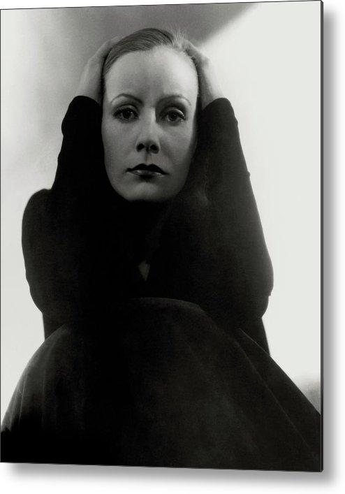 Actress Metal Print featuring the photograph Greta Garbo Wearing A Black Dress by Edward Steichen