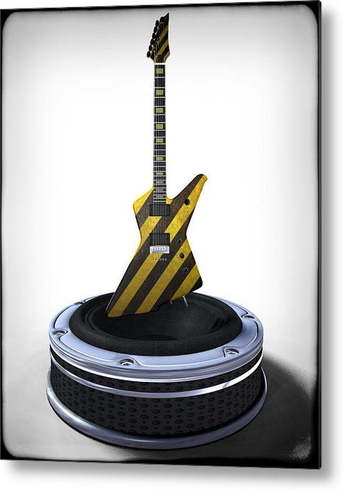 Music Metal Print featuring the digital art Guitar Desplay V3 by Frederico Borges
