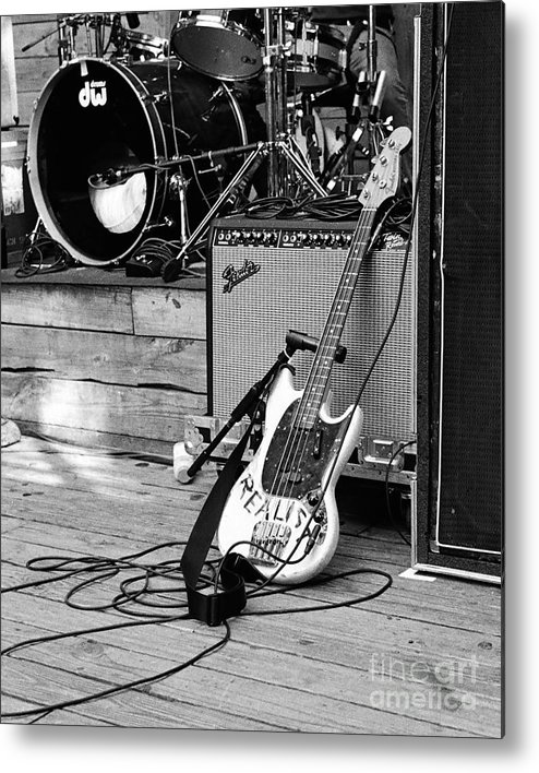Guitar Metal Print featuring the photograph Guitar Realist On Stage by Sonja Quintero