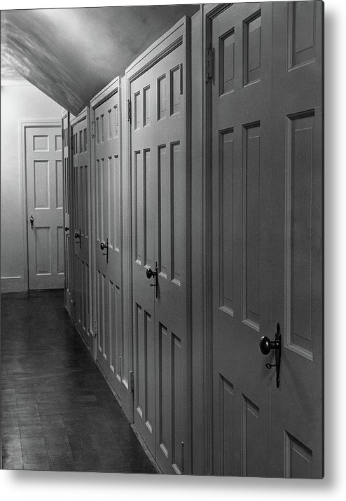 Interior Metal Print Featuring The Photograph Hallway With Closet Doors By  Scott Hyde