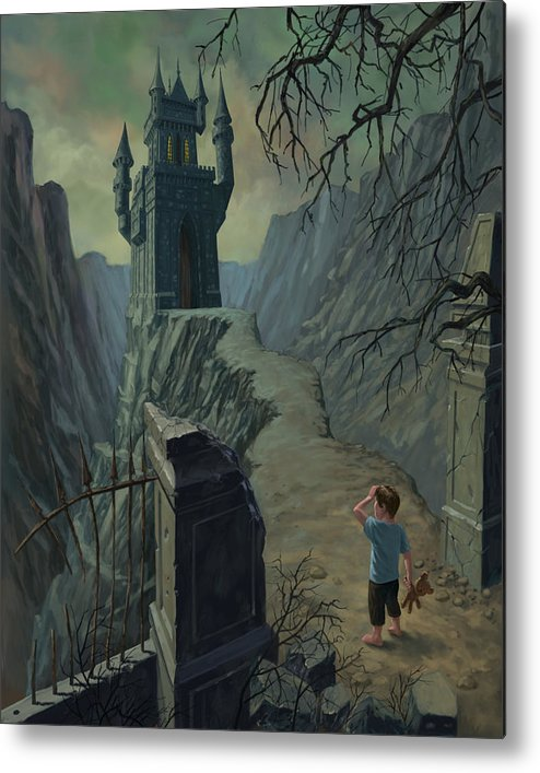 Castle Metal Print featuring the painting Haunted Castle Nightmare by Martin Davey
