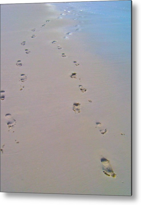 Footprints In The Sand Metal Print featuring the photograph He Carried Me by Dana Doyle