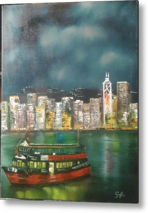 Hong Kong Harbour Water Darkness Reflectiond Buildings Lights Ferry Boat Metal Print featuring the painting Hong Kong Harbour by Ray Gallon