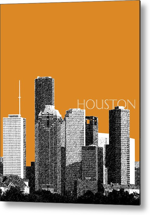 Architecture Metal Print featuring the digital art Houston Skyline - Dark Orange by DB Artist