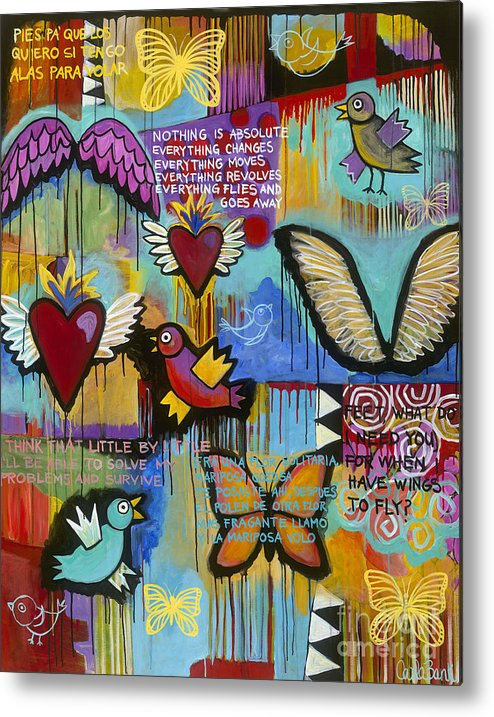 Wings Metal Print featuring the painting I Have Wings To Fly by Carla Bank