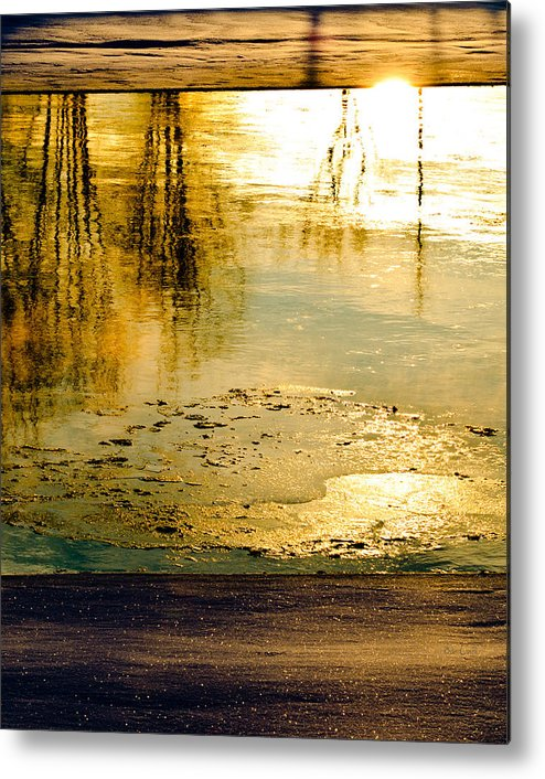 Abstract Metal Print featuring the photograph Ice On The River by Bob Orsillo