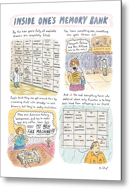 Inside One's Memory Bank Metal Print featuring the drawing 'inside One's Memory Bank' by Roz Chast