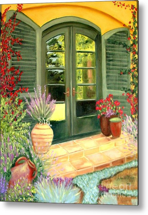 Shutters Metal Print featuring the painting Jill's Patio by Laurie Morgan