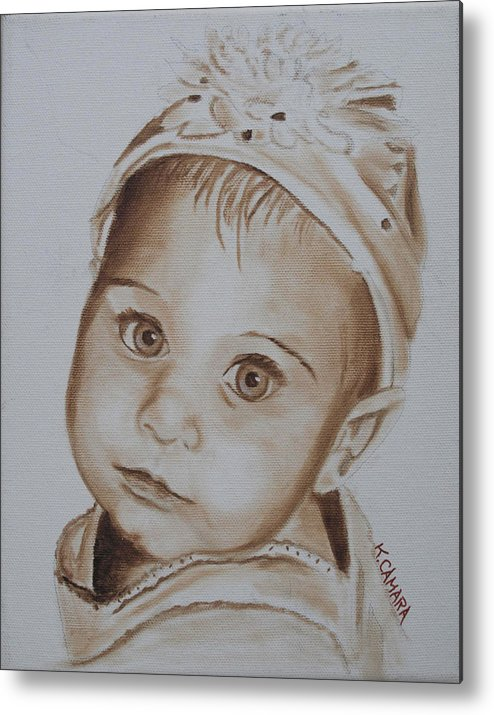 Portraits Metal Print featuring the painting Kids In Hats - Isabella by Kathie Camara